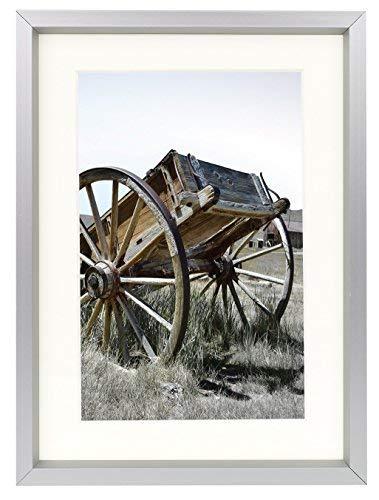 Golden State Art, 5x 7Classic Satin Aluminium Hochformat oder Querformat Schreibtisch Foto Rahmen mit ivort Farbe Matte für 4x 6Foto & Echtglas, Aluminium, silber, 11x14
