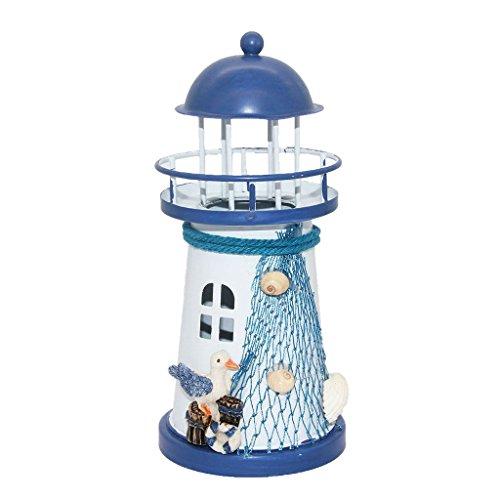 Mediterrane Kerze in Leuchtturm-Form Eisen LED-Licht mit Anker für Tisch Dekoration für Zuhause #1