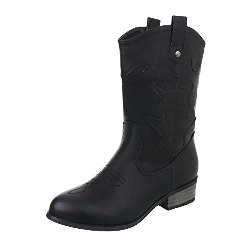 Ital-Design Western- & Bikerstiefel Damen-Schuhe Cowboy Stiefel Blockabsatz Warm Gefütterte Reißverschluss Stiefel Schwarz, Gr 38, Ka16-155Sl-