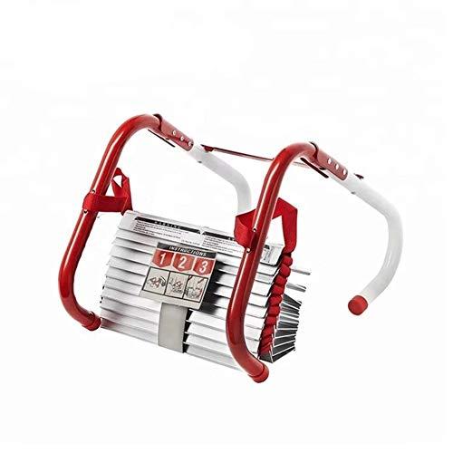 QUUY Feuerleiter, Fluchtleiter, Rettungsseilleiter, robuste und langlebige Nylon-Strickleiter mit Edelstahlhaken für den Notfall - 10 m - 454 kg Tragfähigkeit