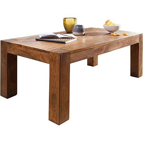 FineBuy Massiver Couchtisch PATAN 110 x 60 x 40 cm Sheesham Holz Massiv | Wohnzimmertisch Rechteckig Braun | Beistelltisch Massivholz | Design Holztisch Wohnzimmer