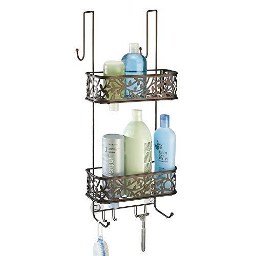 mDesign Duschablage zum Hängen über die Duschtür - praktisches Duschregal - ohne Bohren zu montieren - Duschkörbe zum Hängen aus Metall mit Bronze-Finish - für sämtliches Duschzubehör