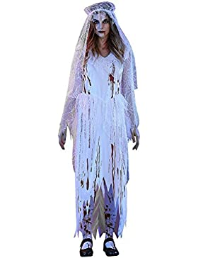 Costume Cosplay Halloween,Kword Adulto Donne Sexy Bianco Cadavere Sposa Halloween Party Cosplay