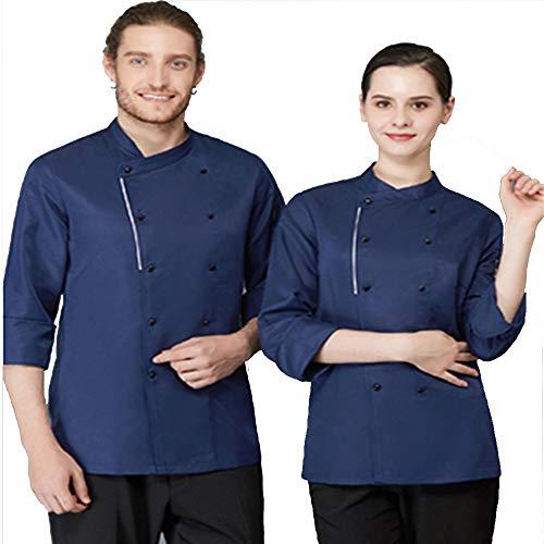 Kochjacke Unisex Herren Kochjacke Weiß Kurzarm Baumwolle Küche Hotel Kochen Uniform Arbeitskleidung Mit - Pille Brust Kostüm