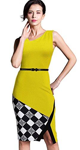 Homeyee tubino da donna senza maniche con scollo a V con cintura e motivo floreale, lunghezza al ginocchio B290 Yellow