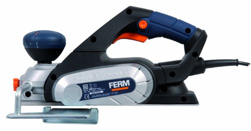 FERM PPM1010 Planer - 650W - Max. Width: 82mm - 8-Position Adjustable Planing Depth - Reversible Knives - Soft Grip Handle - With Parallel Guide, Dust Bag, Wrench and Teeth Belt