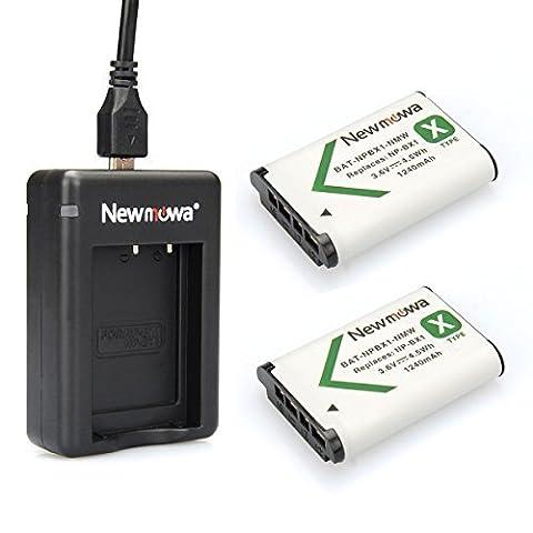Newmowa Double USB Chargeur + 2 Batteries NP-BX1 pour Sony NP-BX1, NP-BX1/M8,Sony Cyber-shot DSC-HX50V, DSC-HX300, DSC-HX400,DSC-RX1, DSC-RX1R, DSC-RX100, DSC-RX100 II, DSC-RX100M II, DSC-WX300, HDR-AS10, HDR-AS15, HDR-AS30V,HDR-AS50R, HDR-AS100V, HDR-AS100VR, HDR-AS300R,HDR-CX240, HDR-MV1, HDR-PJ275,FDR-X3000, FDR-X3000R(Double Chargeur + 2 piles