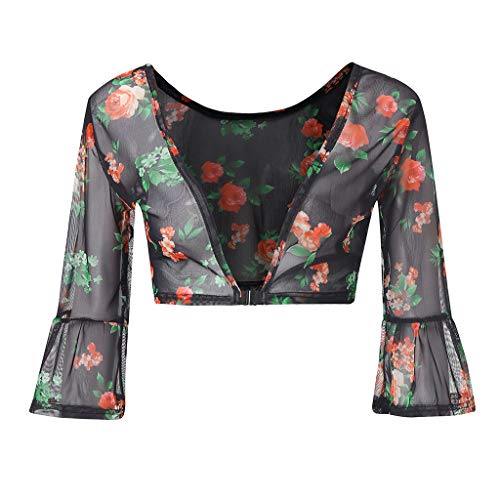 iHENGH Damen Sommer Top Bluse Bequem Lässig Mode T-Shirt Blusen Frauen beide Seiten tragen Schiere Plus Size Nahtlose Arm Former Top Mesh Shirt Blusen(Mehrfarbig, L) -
