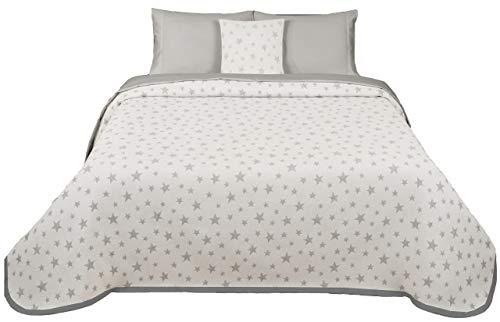 Leiper Couvre-lit en jacquard Motif étoiles Gris ou Beige Plusieurs taillesRéversible 270x260 (cama 180 cm) gris