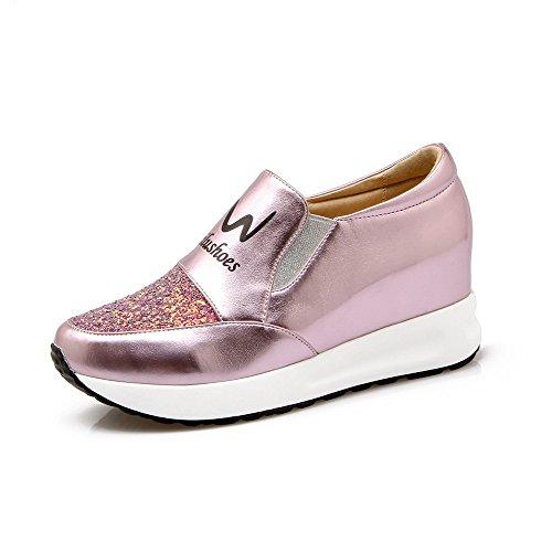 AllhqFashion Damen Rund Zehe Mittler Absatz Weiches Material Rein Ziehen Auf Pumps Schuhe Pink