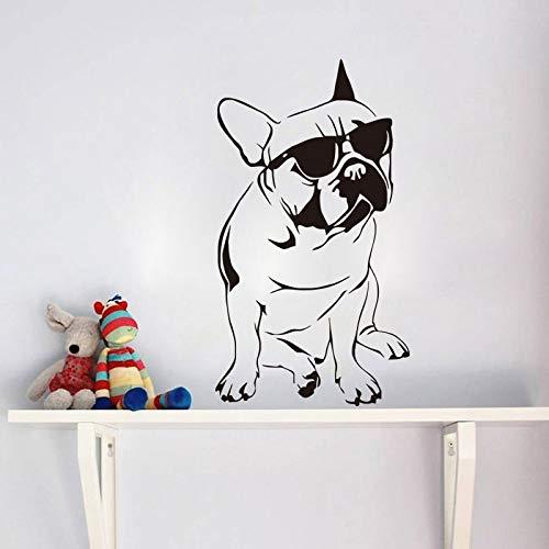 Bulldogge Mit Brille Wandaufkleber Steuern Dekor Wohnzimmer Cool Dog Wandtattoos Tiere 59X106CM