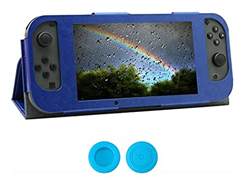 Chickwin Nintendo Switch Joy-Con Controlle Ultra Thin Leder Anti-Rutsch-Flip Case Cover Skins Schutzhülle + 2 Thumb Griffe (Blau)