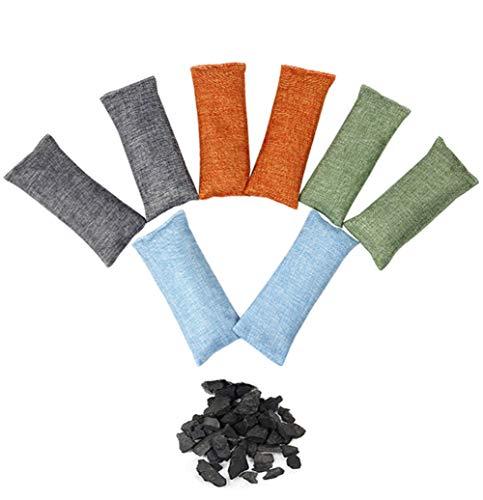 Youkap 8Pcs Natural de aire de purificación de carbón de bambú ambientador de aire mochila para sala de estar Dormitorio Cocina WC zapatos coche no peligrosos ropa armario refrigerador biodegradable