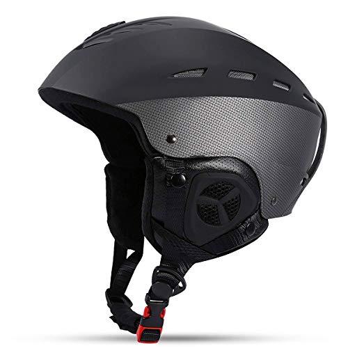 Gutsbox Skihelm Ski Snowboard Helm Snowboardhelm Fahrradhelm Sporthelm mit Waschbar Abnehmbare Lining Chin Pad und Ohrenschützer für Männer Frauen(Schwarz-1, L) -