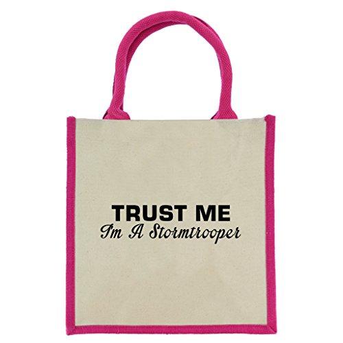 Trust Me I 'm A Stormtrooper in schwarz print Jute Midi Einkaufstasche mit Pink Griffe und Trim