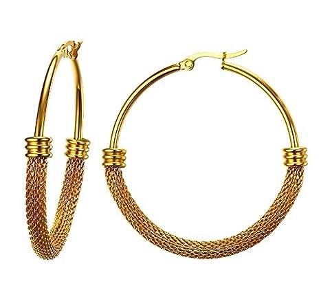 Vnox Edelstahl vergoldet zwei Tone Mesh Wire große Band Ohrringe für Frauen Mädchen