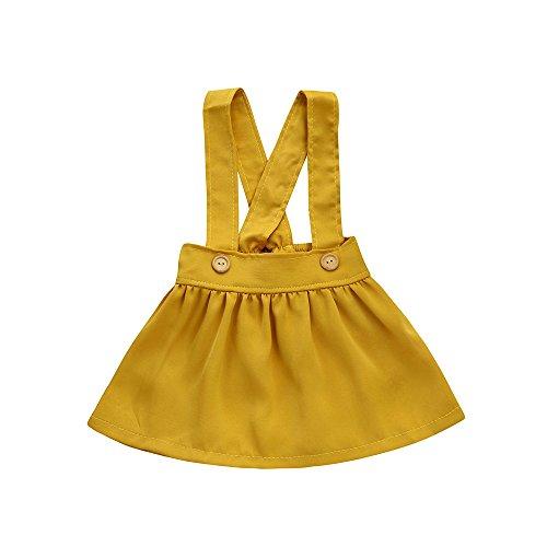 Kobay Kinder Baby Mädchen Solide Overalls Kleider(6-12M,Gelb)