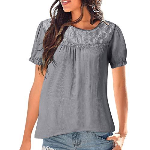 VECDY Damen Bluse,Räumungsverkauf-Frauen Casual Langarm Spitze Patchwork Tops Bluse Langärmelig lässig und charmant Pullover (2XL, ()