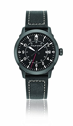 Philip Stein Men's Analog Japanese-Quartz Watch with Leather Strap 700B-PLTBK-CSWB