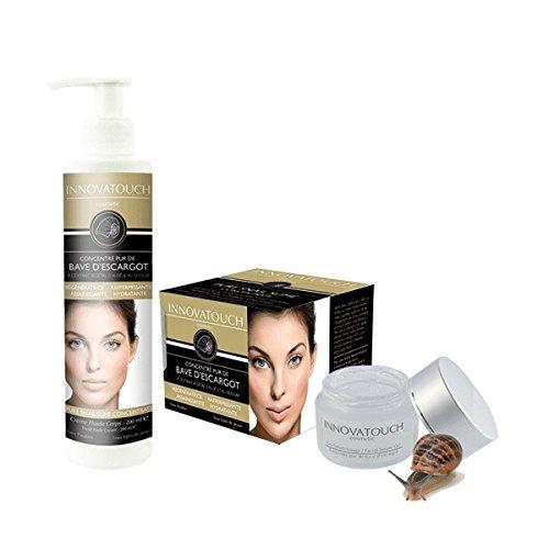 Innovatouch Cosmetic - Concentré Pur De Bave D'Escargot - 1 Gel Sérum Visage 50Ml + 1 Crème Fluide Corps 175 Ml