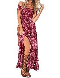 Aitos Femme Robe Longue Ete Boheme Chic Maxi robe de Plage Soirée Casual Imprimé Fleurie Mode FendueCol Bateau Épaules Dénudées