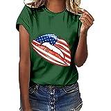 IZZB Damen Bluse Tanktops T-Shirt Weste Frauen Top Oberteil Sommer Hemd Plus Size Independence Day Print Kurzarm T-Shirt (Grün, XXXL)