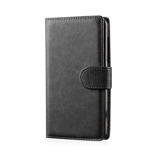 32nd PU Leder Mappen Hülle Flip Case Cover für Sony Xperia E1, Ledertasche hüllen mit Magnetverschluss und Kartensteckplatz - Schwarz