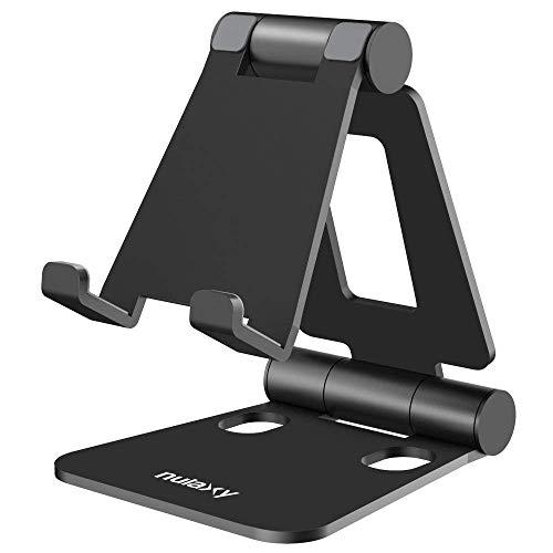 Verstellbare Handy Ständer, Nulaxy Foldable Tablet Stand : Tisch Handy Halterung für Phone Xs Max, Xs, XR, X, 8, 7, 6 Plus, Pad Air 2 3 4, Mini 2 3 4 und 4-8 zoll Device