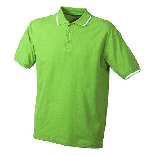 JAMES & NICHOLSON Hochwertiges Piqué-Polohemd mit Kontraststreifen Lime-Green/White