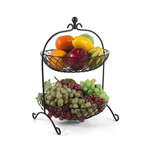 Zh ciotola per frutta, cesto di pane in metallo nero a 2 piani, cesto di frutta, cesto decorativo, accessori per la casa