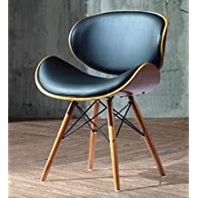 Folk Style Retro DSW Simili Cuir Eiffel A Manger Chaise De Bureau En Bois Finitions Noyer