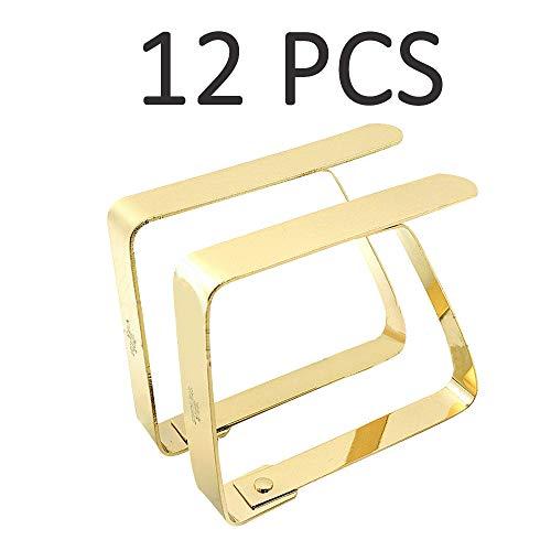 YINSONG 12 Stück Tischlammern aus Edelstahl - Verstellbare Tischklammer Tisch Picknick im Freien Feste Tischtuchklammern Tischtuchhalter, 8.2 x 7cm/Gold A