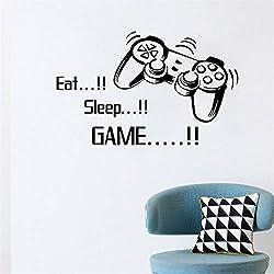 Black Eat Sleep Game Citation Vinyle Autocollant Mural Jeu Joystick Gamepad Gamer Mur Art Design Version Decal Ado Chambre Murale Affiches 53x86cm
