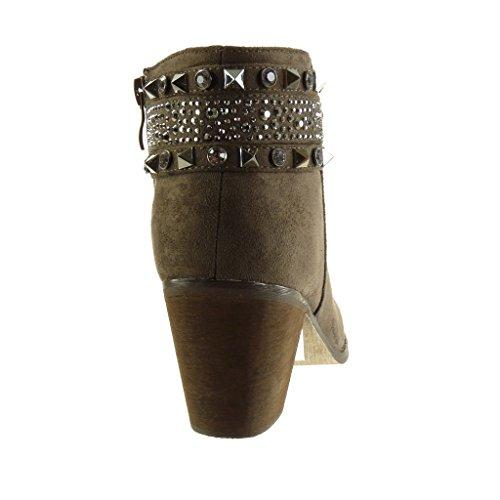 Angkorly Scarpe da Moda Stivaletti - Scarponcini cavalier donna borchiati gioielli strass Tacco a blocco tacco alto 7 CM Khaki