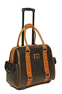 Damen-Trolley / -Handtasche Brieftasche mit Rollen für iPad, Tablet oder Laptop, Ostrich-Optik, Strauß Schwarz und Braun Laptoptrolley