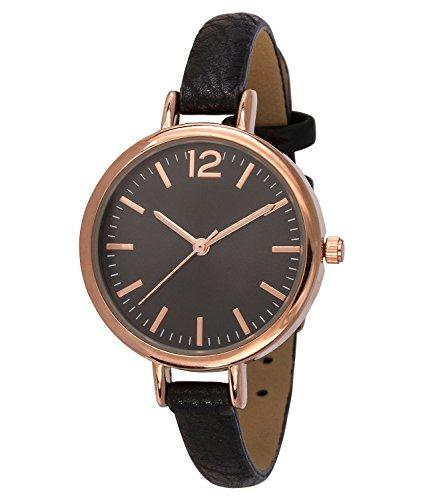 """SIX """"Geschenk"""" schwarze Damen Uhr mit dunklem Ziffernblatt und rose goldenen Details schmales Kunstleder Armband (274-317)"""