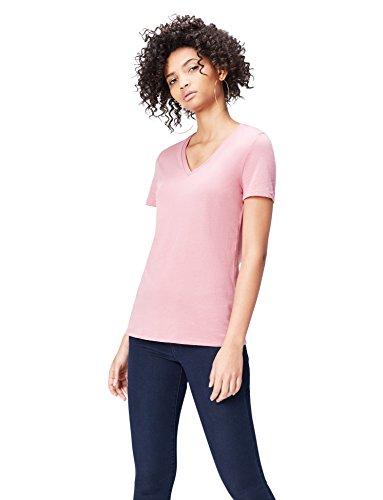 FIND Damen T-Shirt mit V-Ausschnitt Rosa, 36 (Herstellergröße: Small) (T-shirt Leben Damen Rosa)