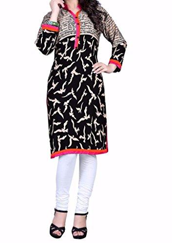 Kurti (Sai Fab Women\'s Crepe Printed Black & Kurti) ( Free Size Altrable Till 42-44 OR XL)
