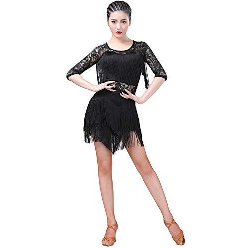 Kostüm Tango Ballroom - WEISY Sexy Spitze Quasten Latin Dance Kleid für Frauen Salsa Cha Cha Tango Ballroom Dancewear Kostüm