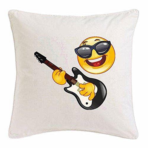 Reifen-Markt Kissenbezug 40x40cm Cooler Smiley MIT Sonnenbrille BEIM Gitarre Spielen Smileys Smilies Android iPhone Emoticons IOS GRINSE Gesicht Emoticon APP aus Mikrofaser in Weiß