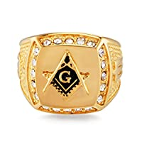Candyboom Personalized Signet Ring Crystal Bling Rhinestone Golden Alloy Ring Fashion Finger Ring for Men Hip Hop Jewelry