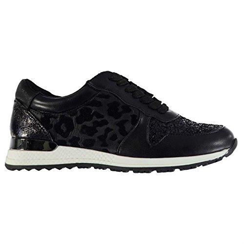 Fabric Femmes Blitz Runner Chaussures Baskets A Lacets Sneakers Sport Casual Noir