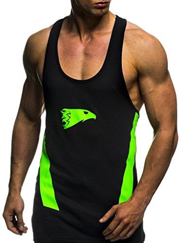 Grün Training Top T-shirt (LEIF NELSON Gym Herren Stringer T-Shirt für Sport Fitness ohne Ärmel | Männer Bodybuilder Trainingsshirt Top ärmellos | Sportshirt - Bekleidung für Bodybuilding Training | 6286 Schwarz-Grün X-Large)
