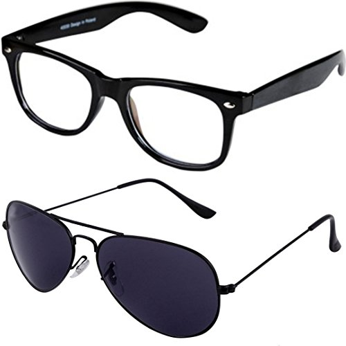 327f16c08c8 ... Full Rim Wayfarer Unisex Spectacle Frame and Black Aviator Sunglasses  for Men and Women with 2 boxes. Sale