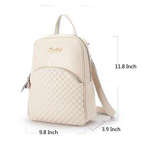 Frauen Rucksack Vintage PU-Leder Rucksack Laptoptasche Für Schulreisen Beige