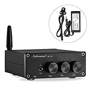 Nobsound Mini 200W (100W×2) Bluetooth 4.2 TPA3116 Digital Amplifier HiFi Stereo Class D Power Amp with Power Supply (NS-15G)