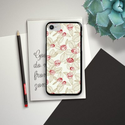 Apple iPhone X Silikon Hülle Case Schutzhülle Rosen Blumen Blätter Hard Case schwarz