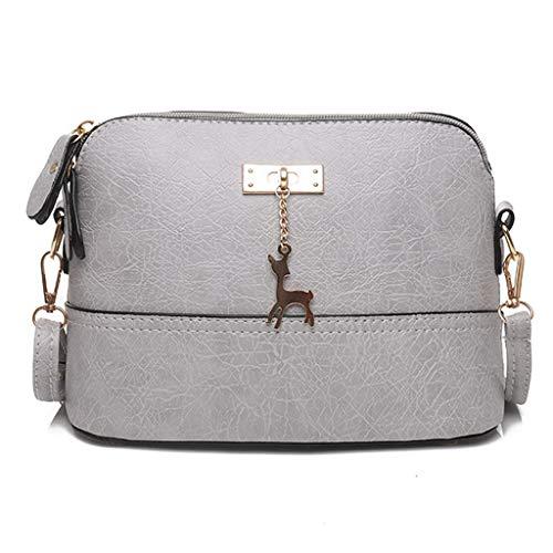 HCFKJ Tasche, Damen Plissee Umhängetasche Fawn Anhänger Shell Schultertasche Messenger Bag (GY) -