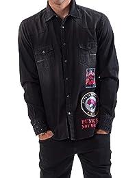 Meltin'Pot - Camisa Jeans CAREY D0100-PT098 para hombre, ajuste regular, ajuste regular, manga larga
