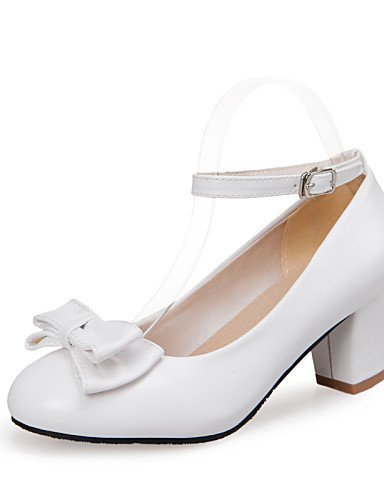 WSS 2016 Chaussures Femme-Mariage / Bureau & Travail / Décontracté-Noir / Bleu / Rose / Blanc-Gros Talon-Confort / Bout Arrondi-Talons-Similicuir white-us8 / eu39 / uk6 / cn39